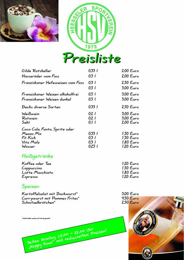 Vereinsheim Preisliste